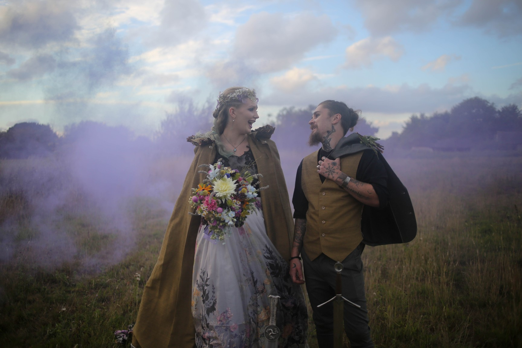 nature wedding - pagan wedding - ethereal wedding - spiritual wedding - alternative wedding - mystical wedding - quirky wedding - wedding smoke bomb photo - alternative wedding wear
