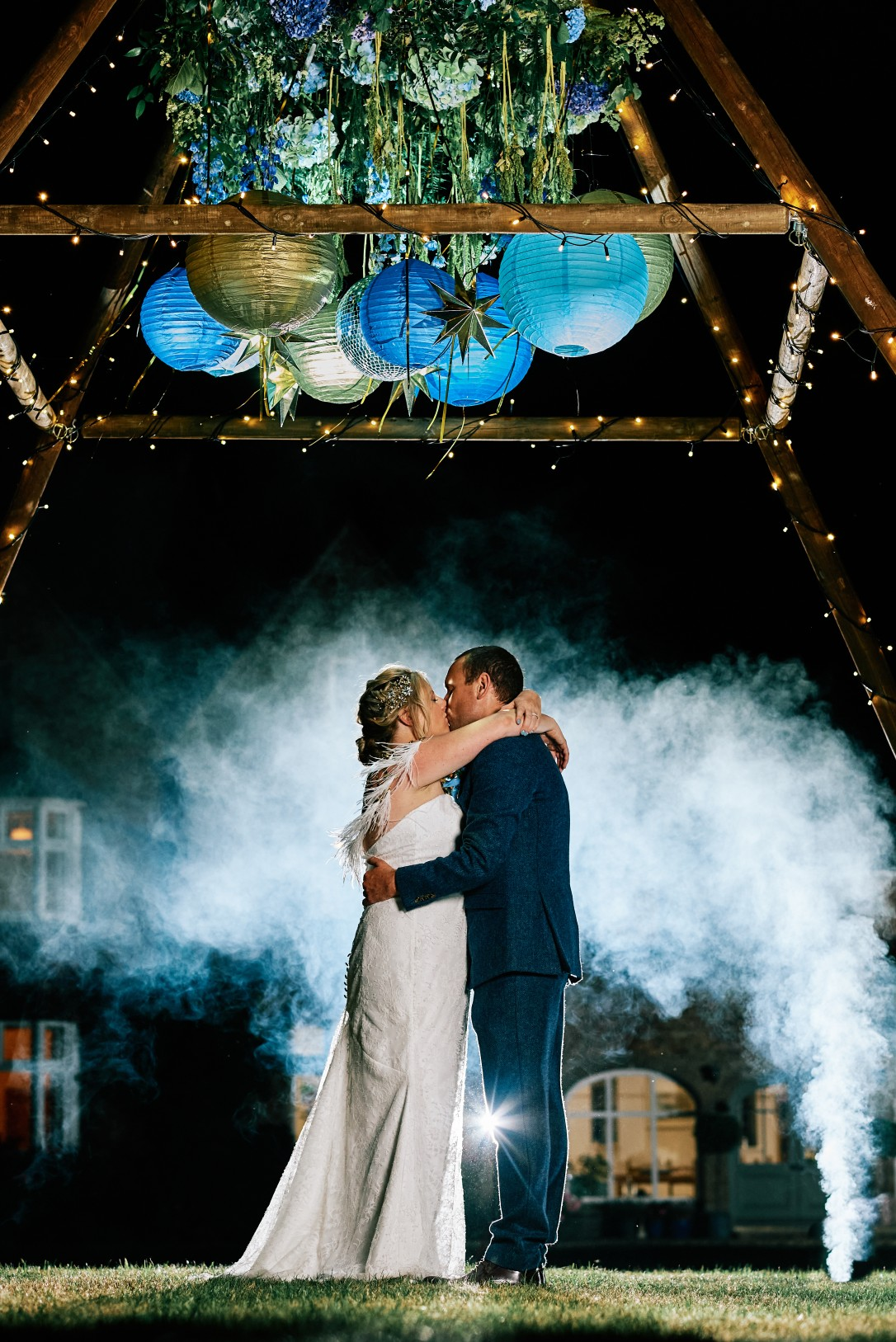 nhs wedding - paramedic wedding - blue and gold wedding - outdoor wedding - micro wedding - surprise wedding - wedding smoke bomb photo