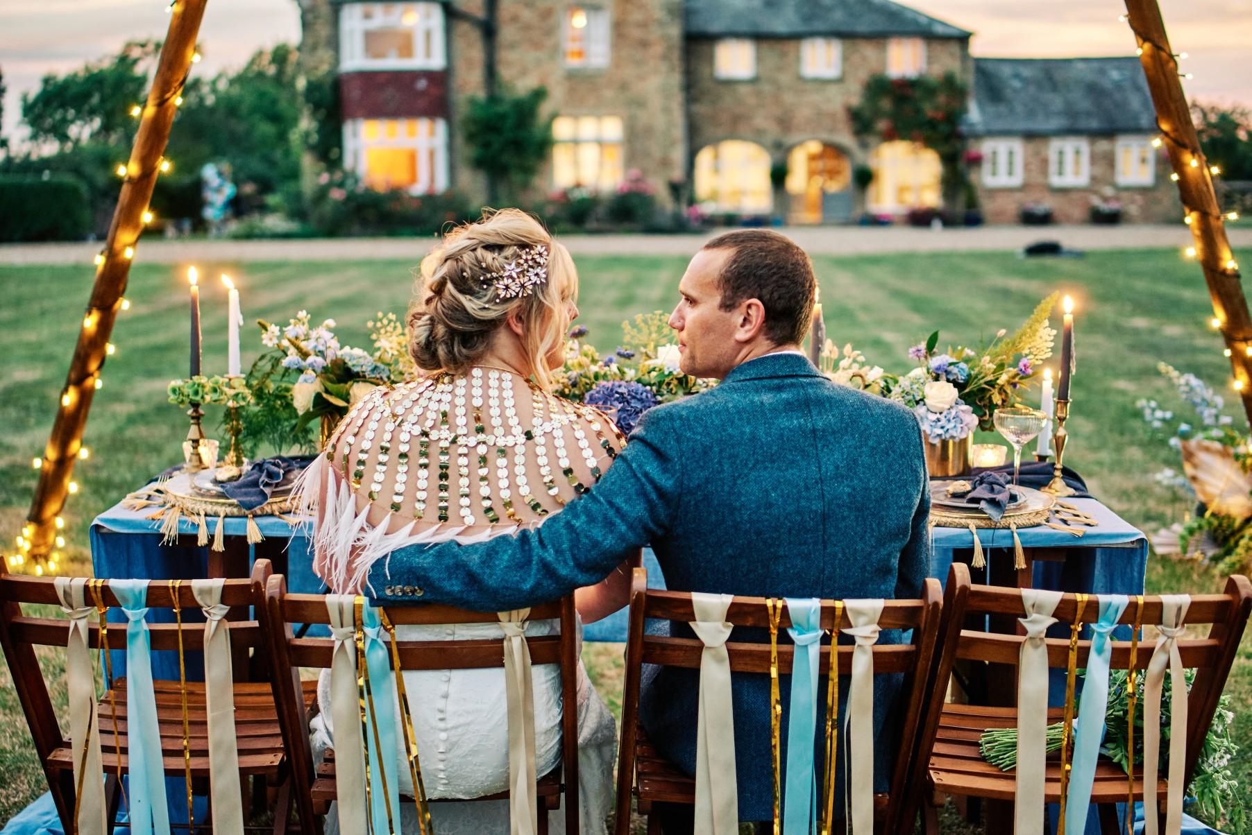 nhs wedding - paramedic wedding - blue and gold wedding - outdoor wedding - micro wedding - surprise wedding - festival wedding styling