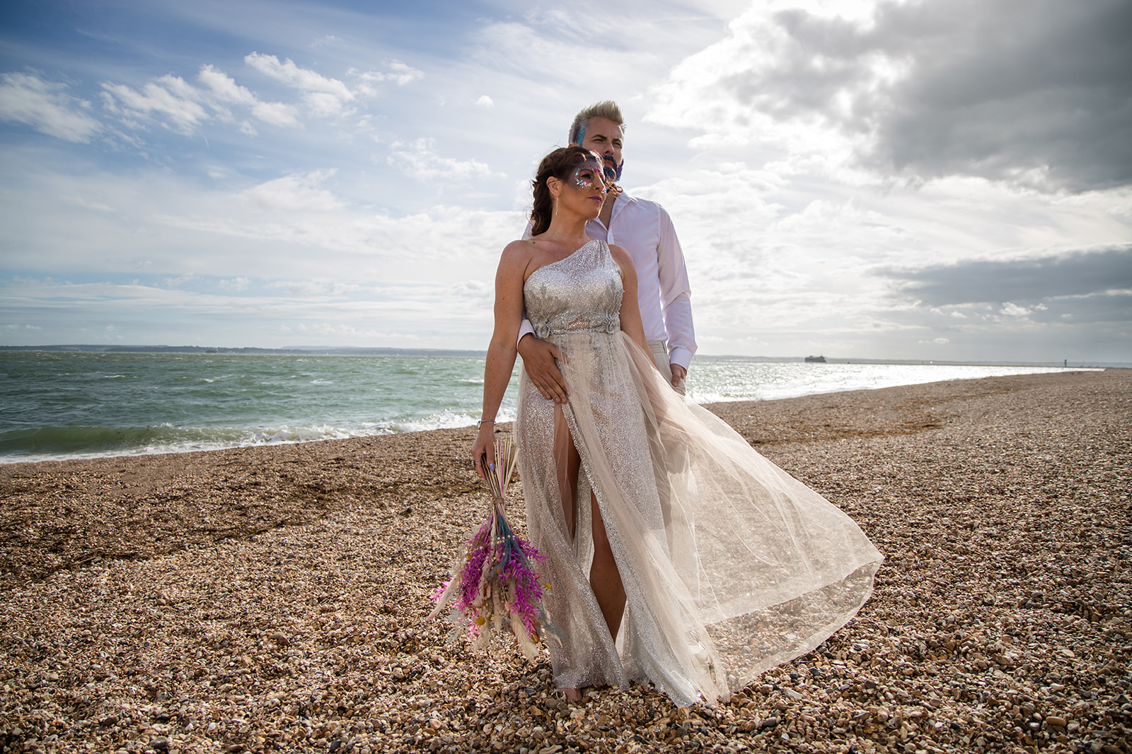 mermaid wedding - beach wedding - quirky wedding - unique wedding - alternative seaside wedding - alternative wedding - bride and groom at beach - mermaid themed wedding