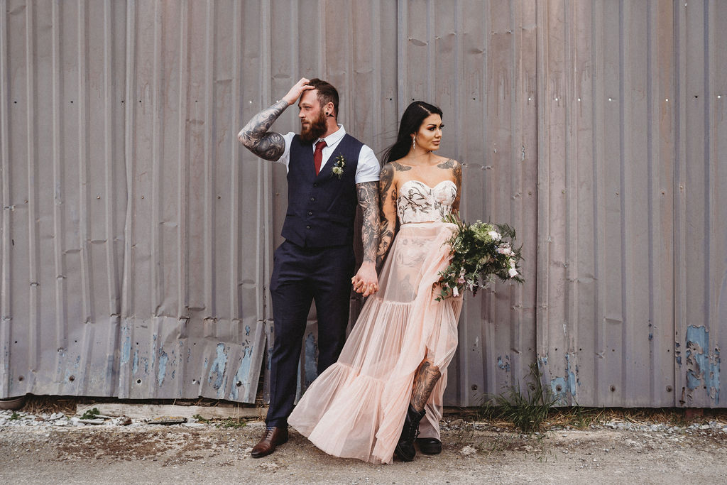 alternative bride and groom - industrial wedding - alternative farm wedding, edgy wedding, tattooed wedding, alternative wedding
