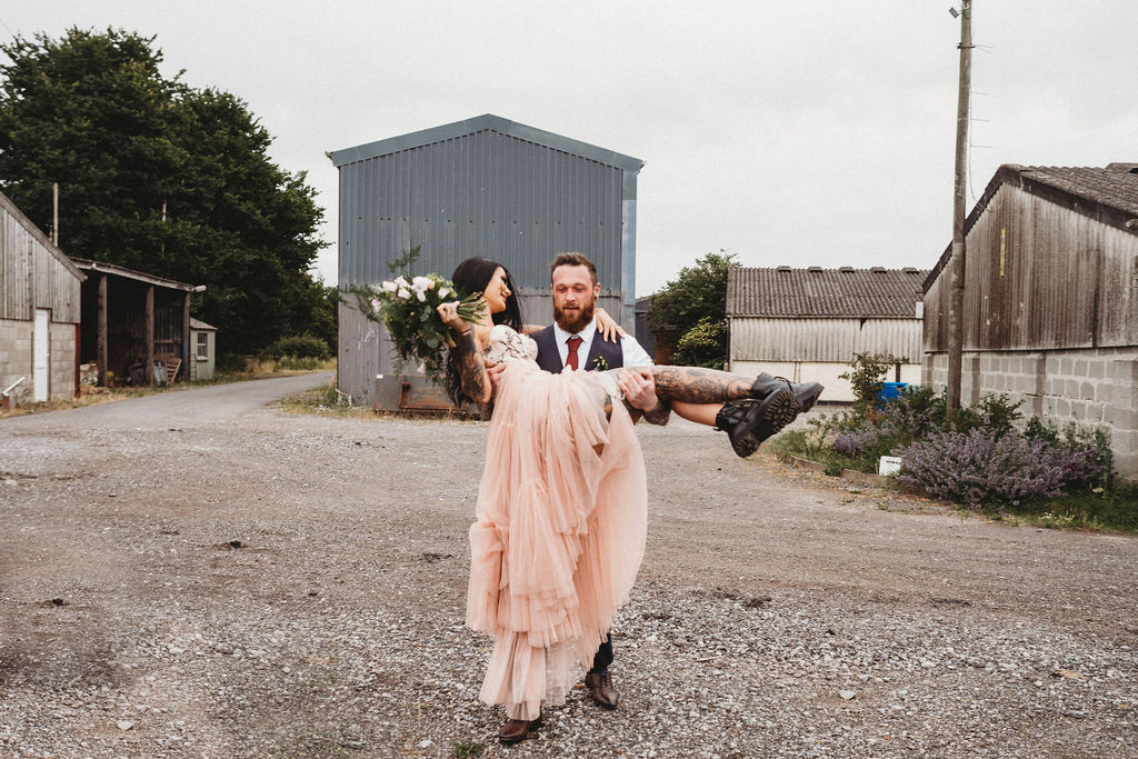 alternative farm wedding, edgy wedding, tattooed wedding, alternative wedding - alternative wedding wear - alternative bridal wear - pink wedding dress