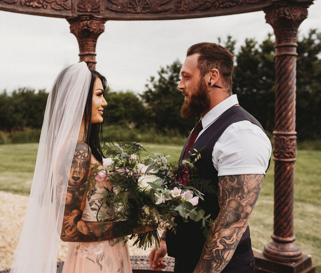 small wedding ceremony - alternative farm wedding, edgy wedding, tattooed wedding, alternative wedding