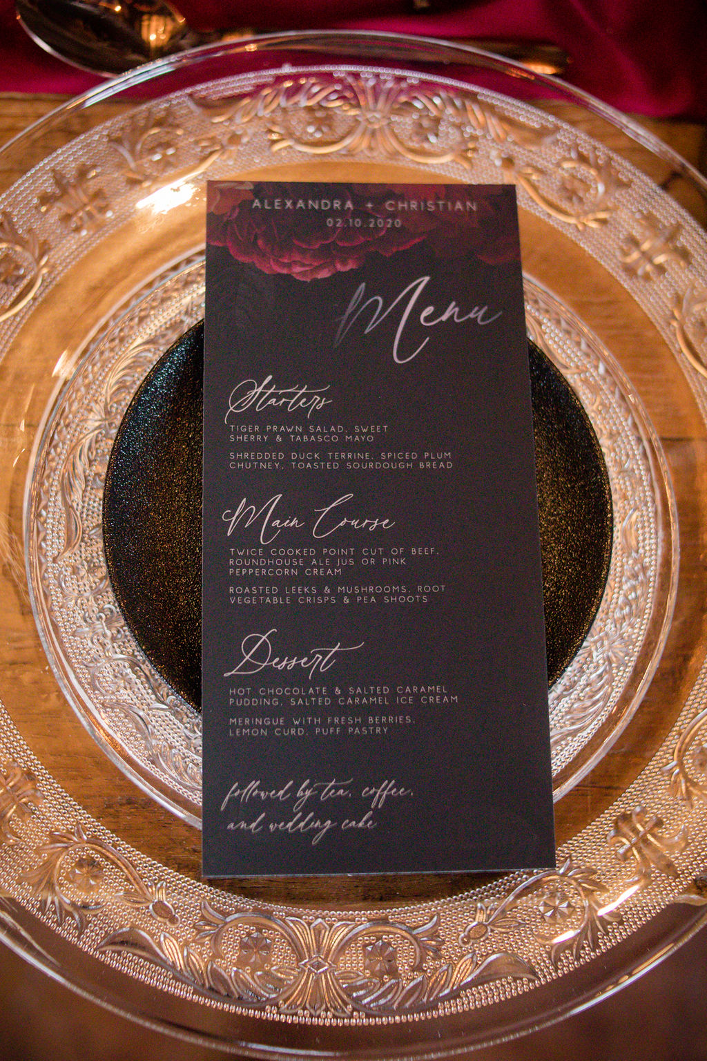 dark autumn wedding - autumnal wedding inspiration - autumn wedding stationery - autumn wedding menu