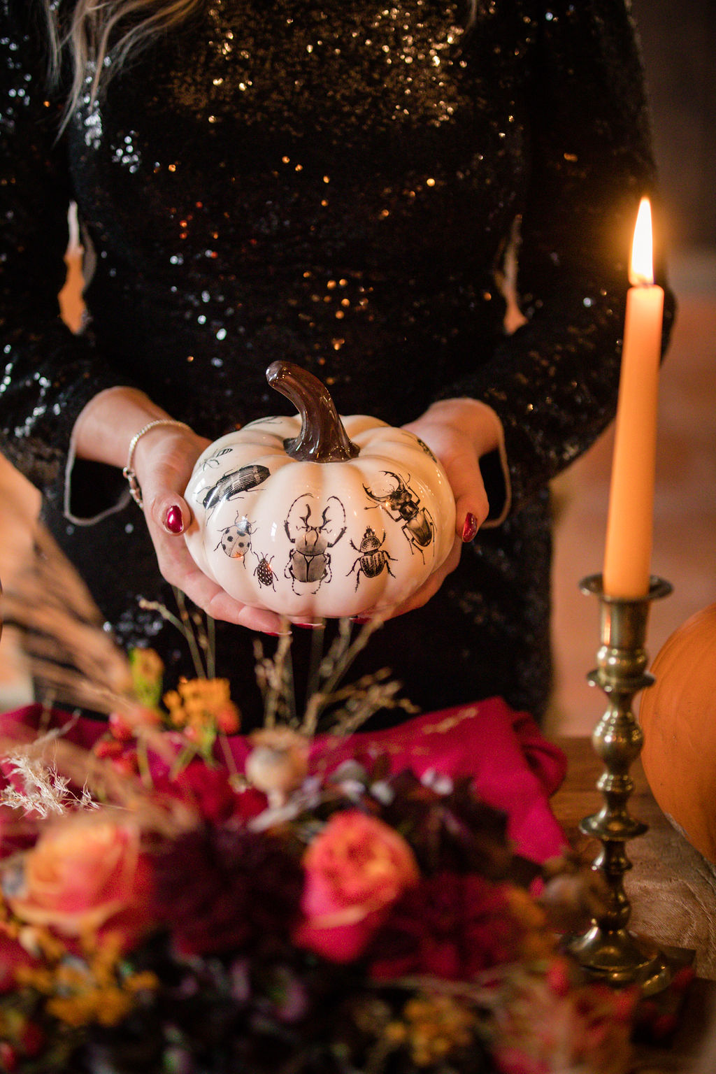 dark autumn wedding - halloween wedding - wedding pumpkin - autumn wedding colour scheme - black wedding dress