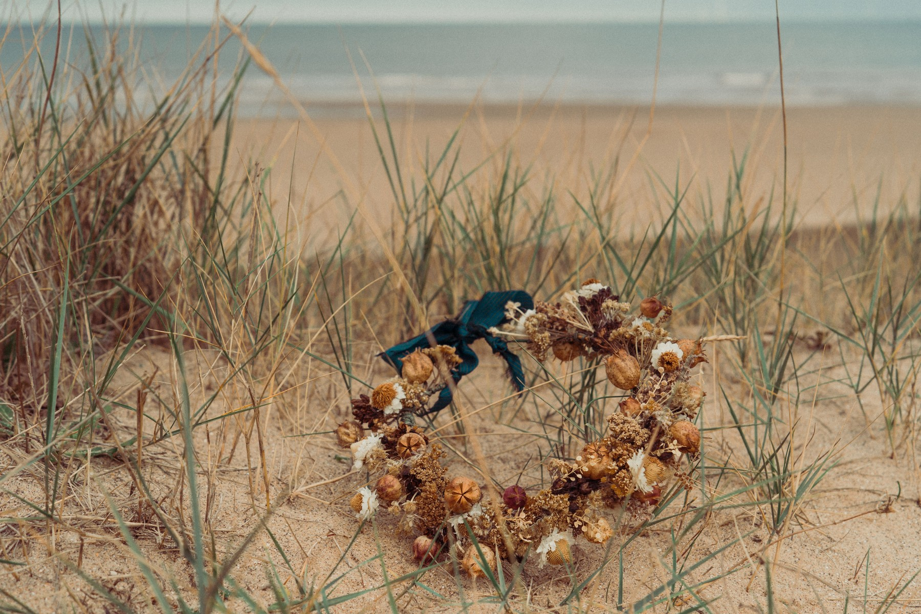 beach elopement - beach wedding - eco friendly wedding -tempest themed wedding - unique wedding bouquet - dried wedding bouquet - autumn wedding flowers