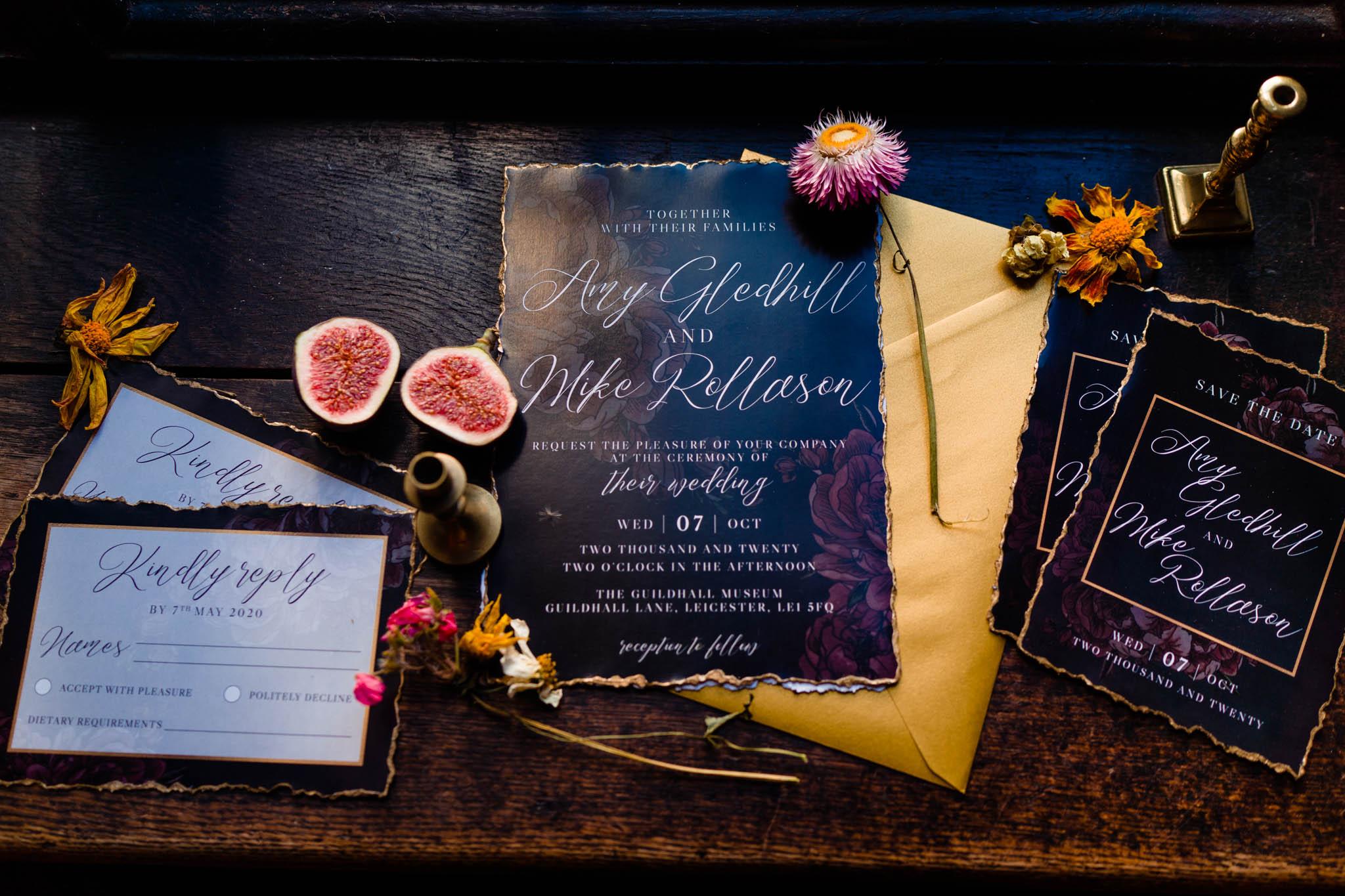 gothic wedding stationery - gothic wedding invitations - black wedding stationery