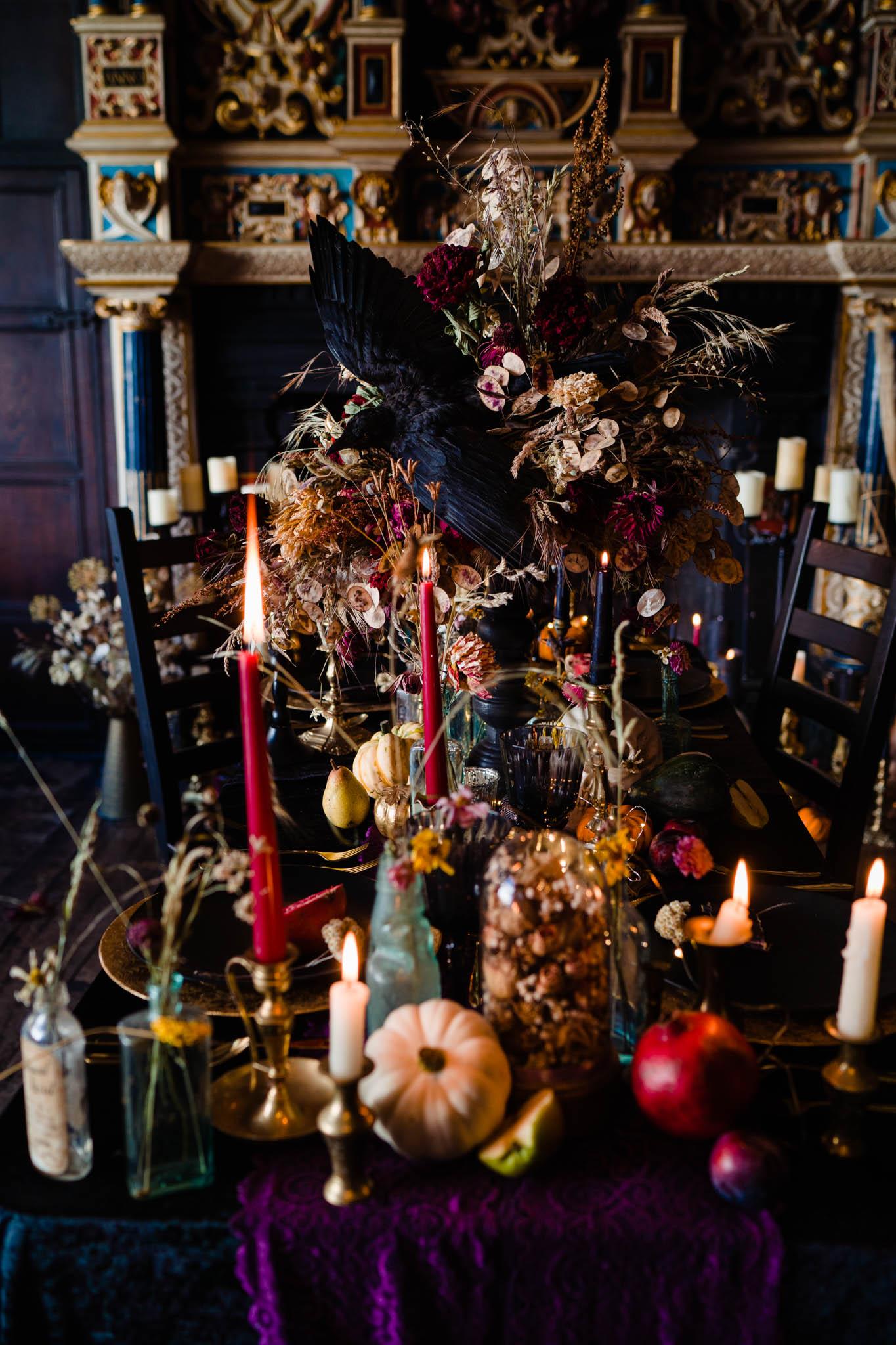 elegant gothic wedding - gothic wedding - autumn wedding styling-