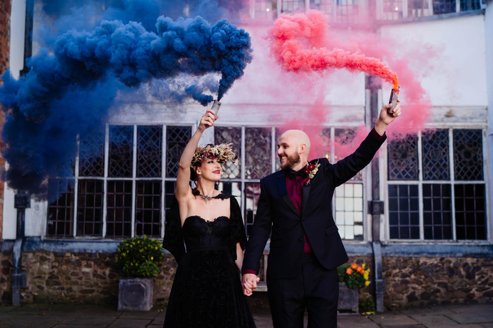 smoke bomb wedding photo -elegant gothic wedding - gothic wedding - autumn wedding