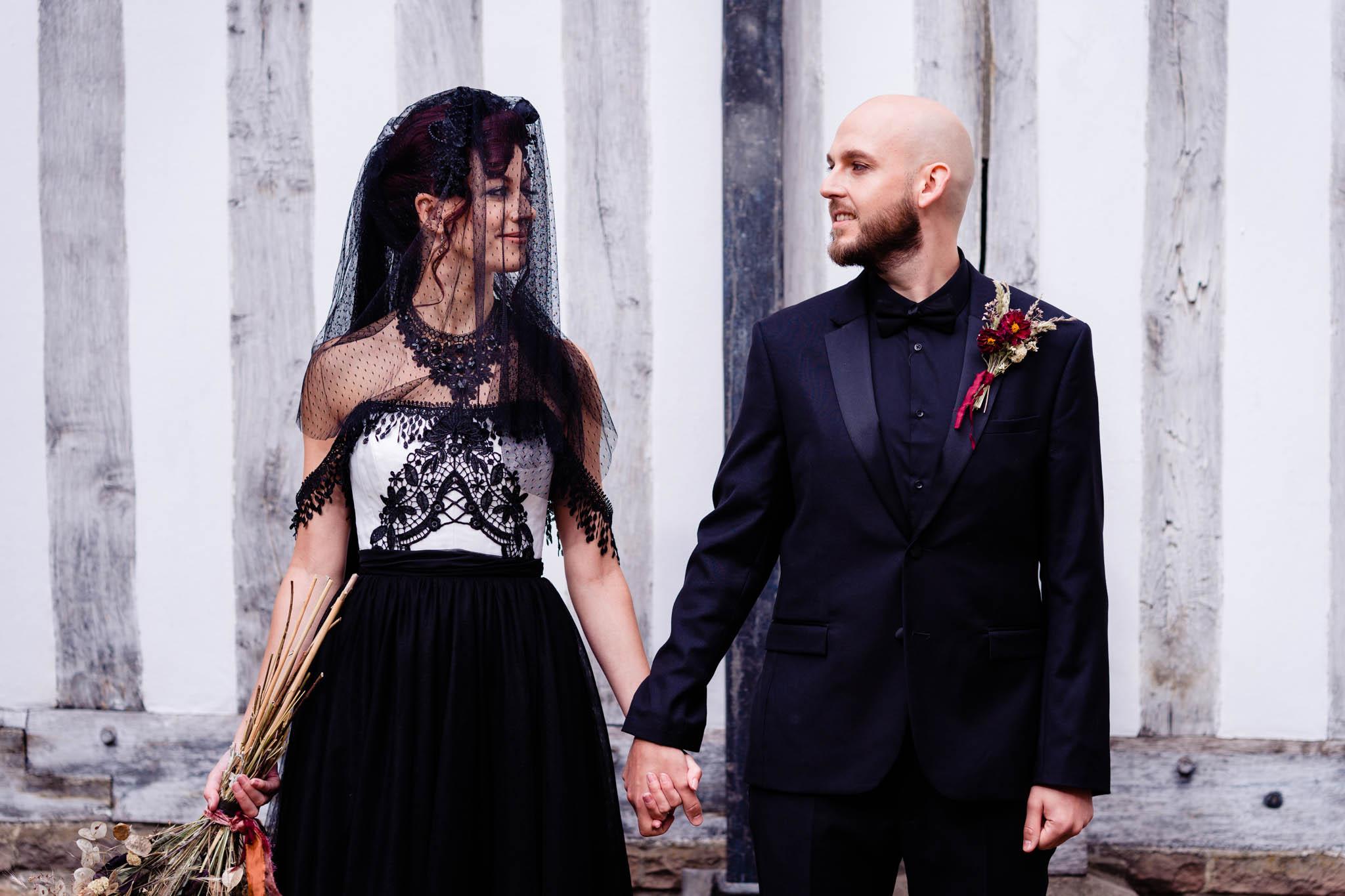 black bridal veil - gothic wedding dress -elegant gothic wedding - gothic wedding - alternative wedding
