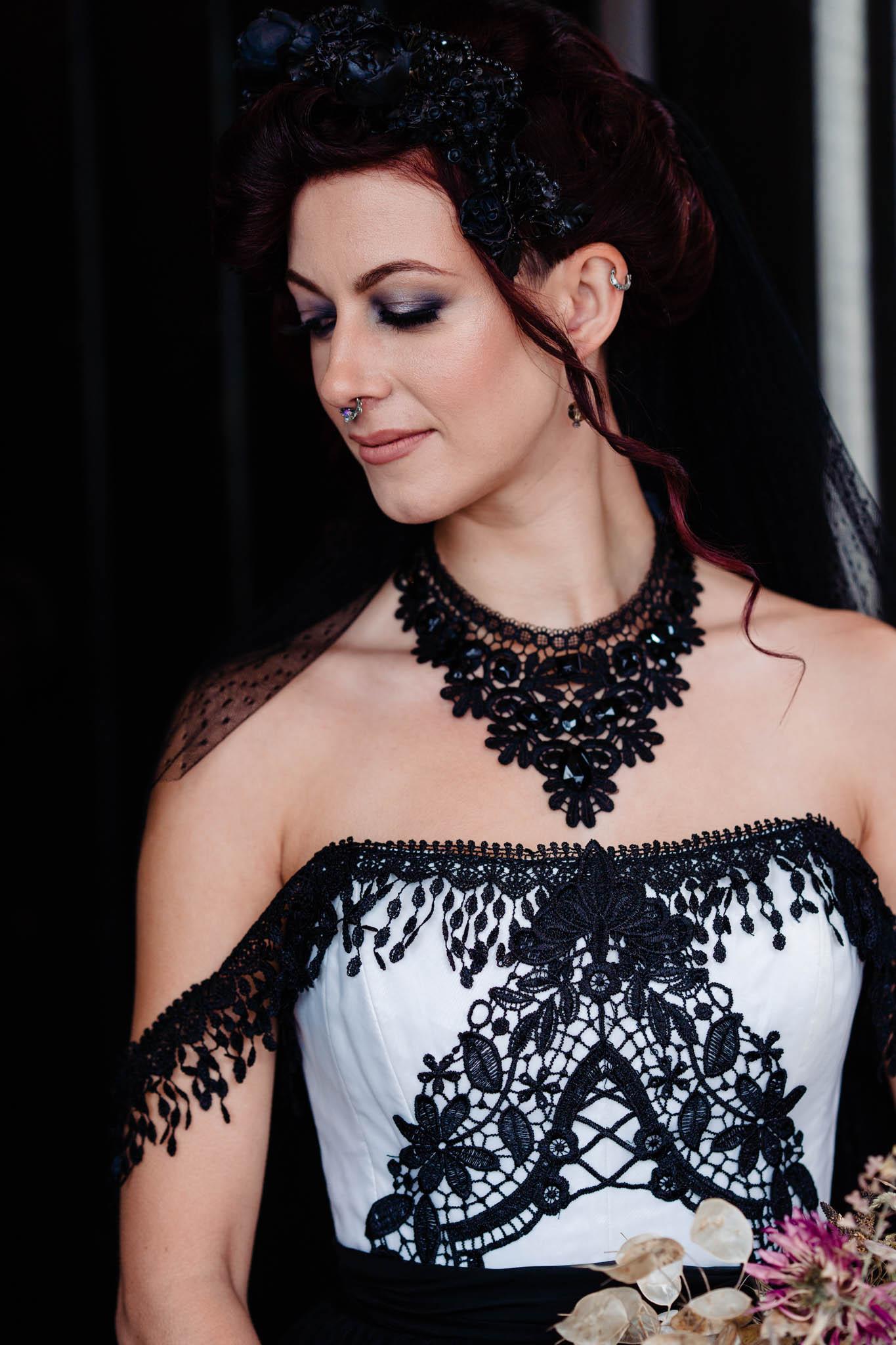 elegant gothic wedding - gothic wedding dress- black wedding dress - alternative wedding dress - alternative bridal wear