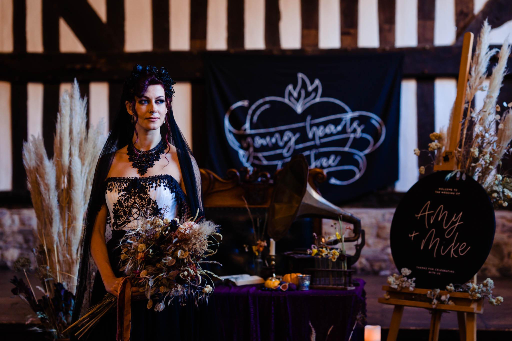 elegant gothic wedding - gothic wedding - autumn wedding - alternative bridalwear
