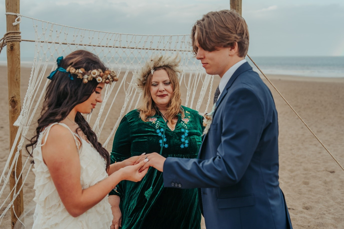 beach elopement - beach wedding - eco friendly wedding -tempest themed wedding - bohemian beach wedding ceremony