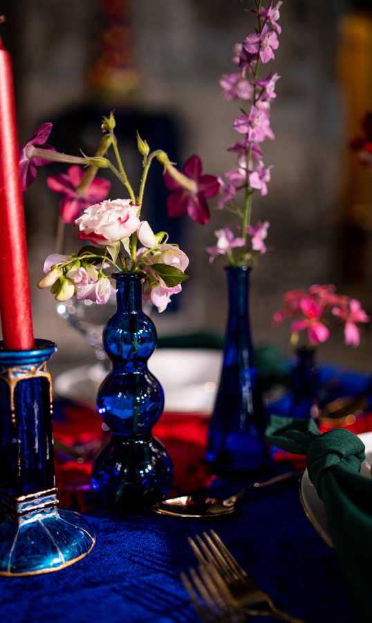 quirky wedding vases - eclectic wedding flowers - quirky vases - colourful wedding table styling