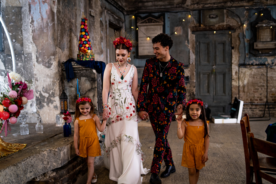 colourful alternative wedding - eclectic wedding styling - alternative wedding wear - embroidered wedding dress