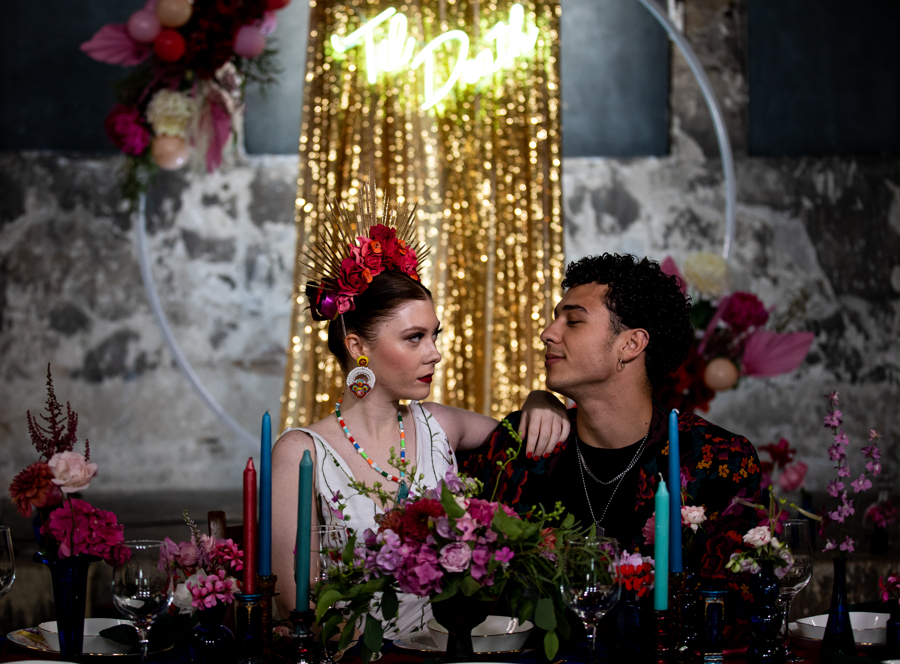colourful alternative wedding - eclectic wedding table styling - alternative wedding venue london
