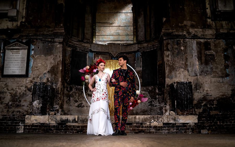 colourful alternative wedding - colourful wedding wear - embroidered wedding dress - colourful wedding dress - unique wedding dress - unique groomswear - patterned mens suit - unique wedding venue