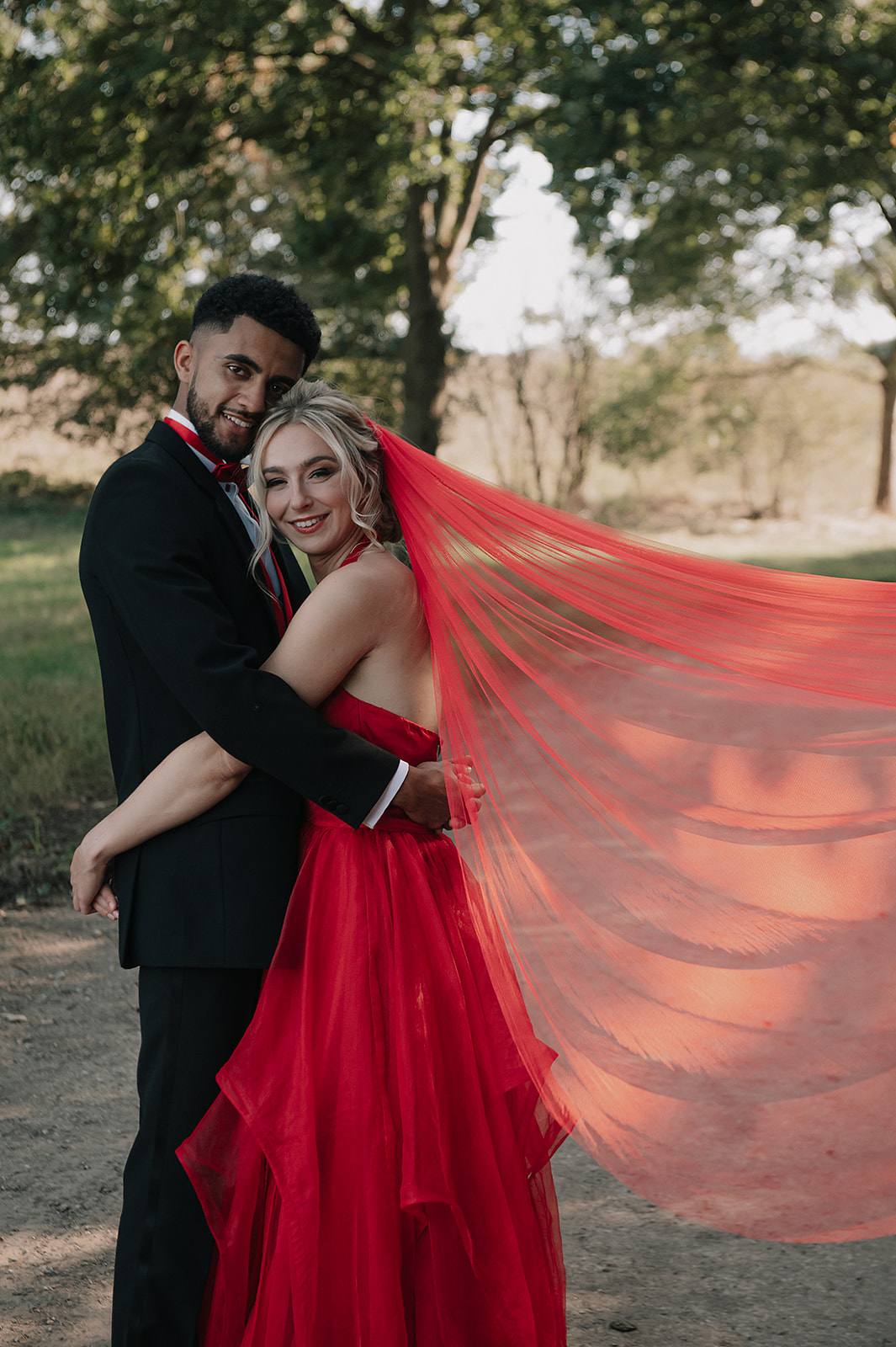 red wedding dress - red veil - alternative bridalwear, unique wedding dress, coloured wedding dress , coloured wedding veil