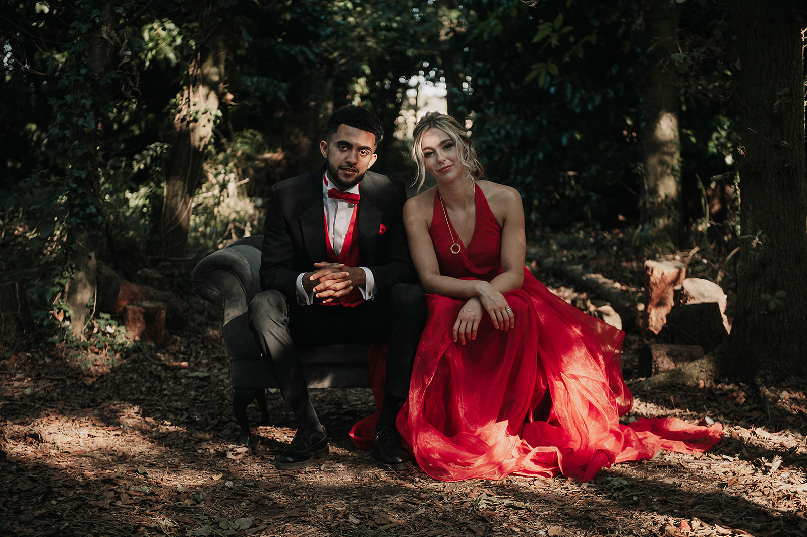 red wedding - forest elopement photoshoot - red wedding dress - alternative bridal wear - forest wedding