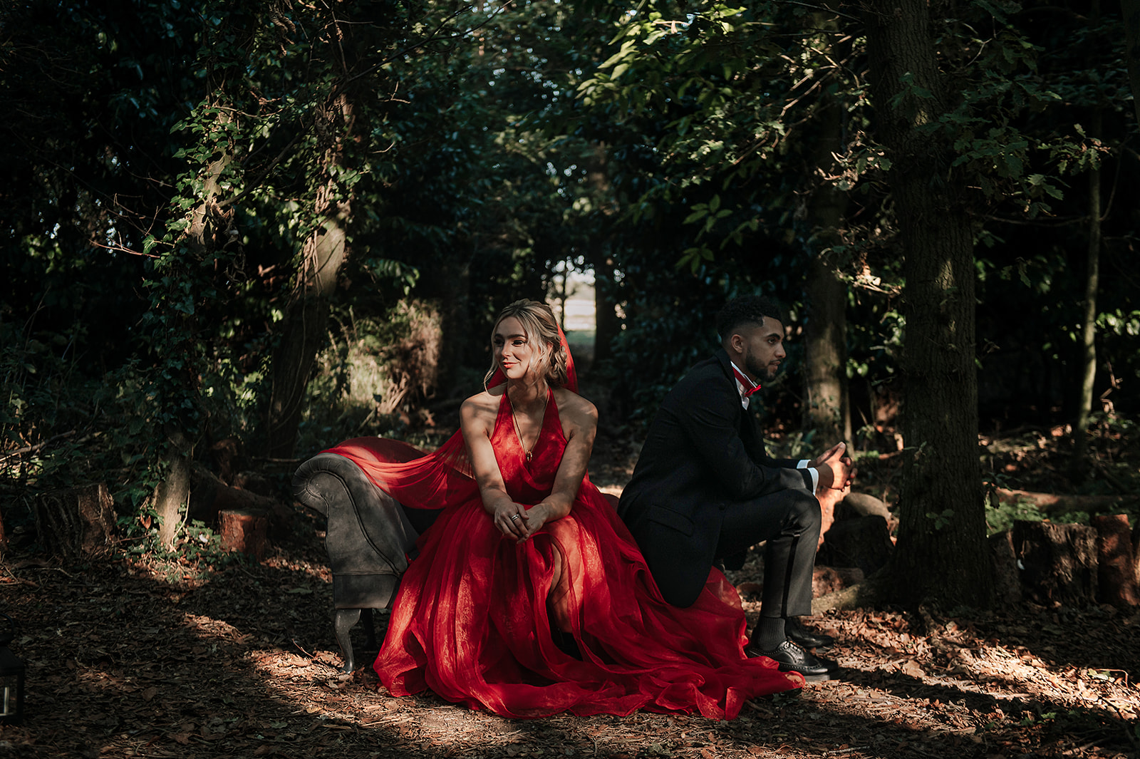 red wedding - forest elopement photoshoot - red wedding dress - alternative wedding dress - colourful wedding dress