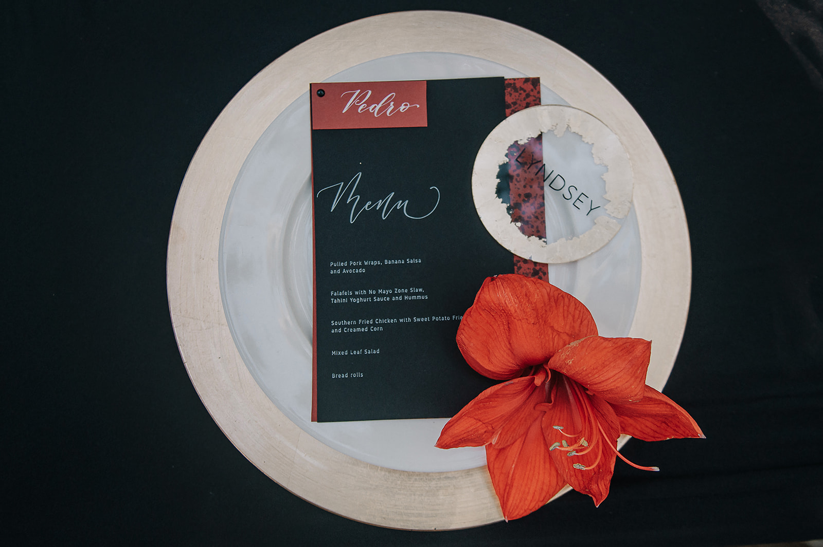 red and black wedding menu - unique wedding stationery