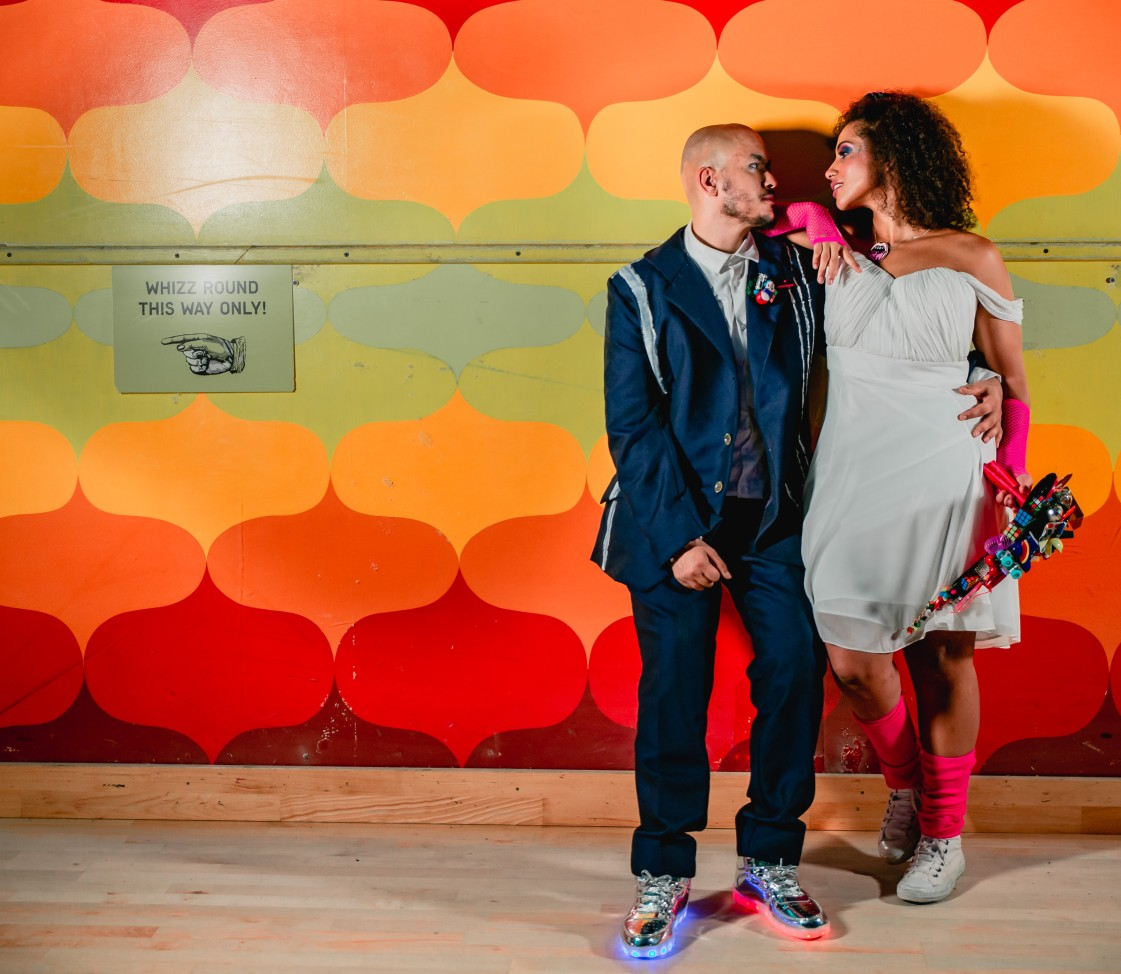 80s themed wedding - colourful wedding - roller disco wedding