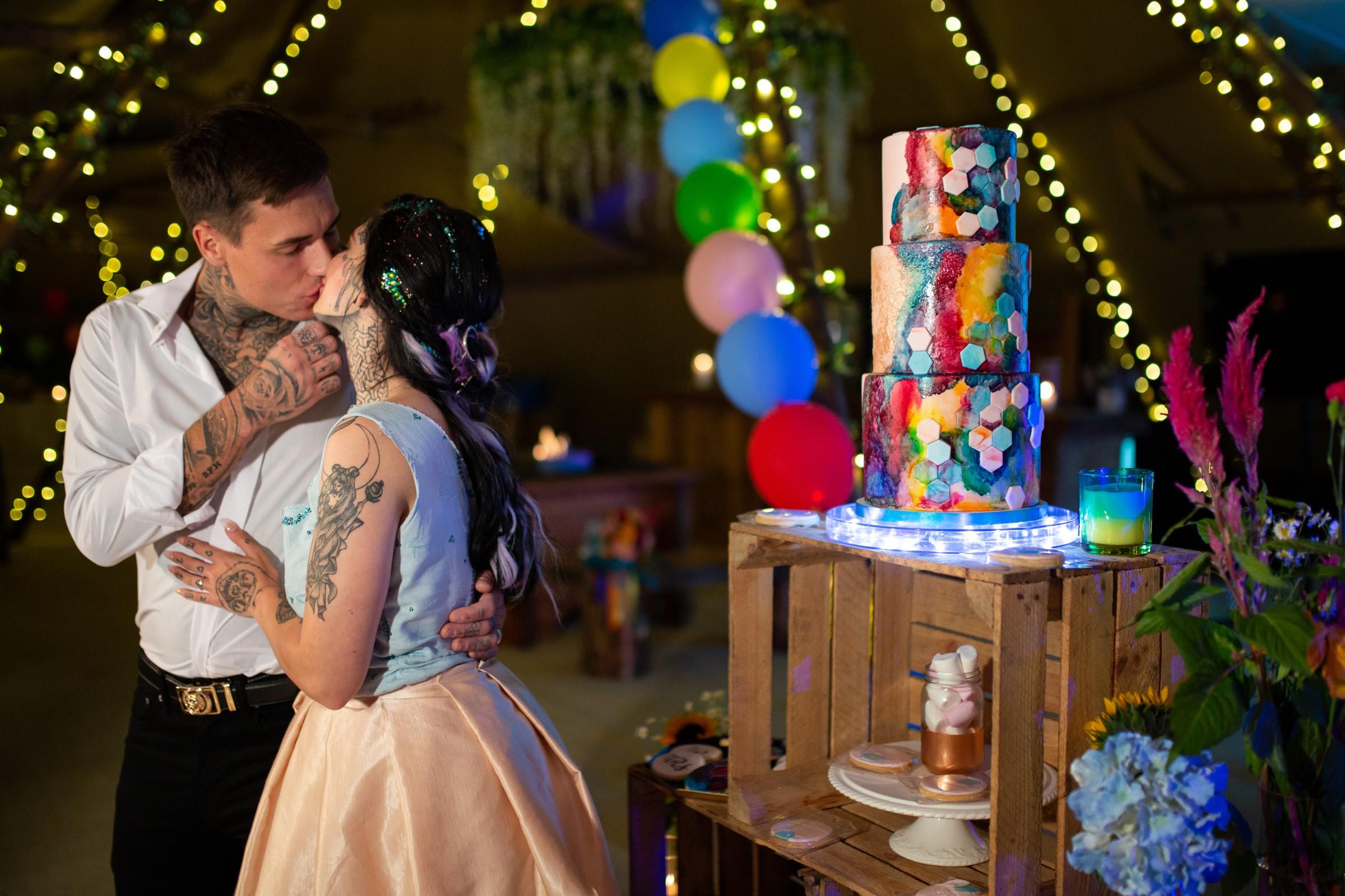 rainbow festival wedding - colourful wedding - quirky wedding ideas - rainbow wedding cake - colourful wedding cake - quirky wedding cake