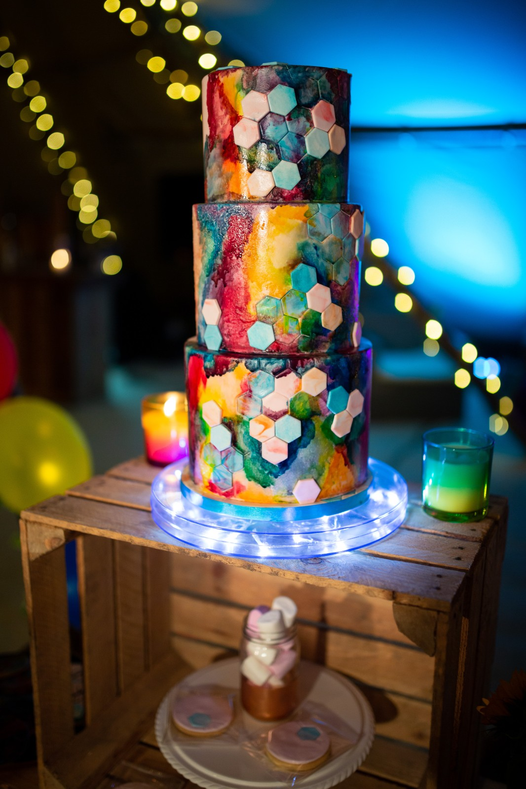 rainbow festival wedding - colourful wedding - quirky wedding ideas - colourful wedding cake - rainbow wedding cake - geometric wedding cake