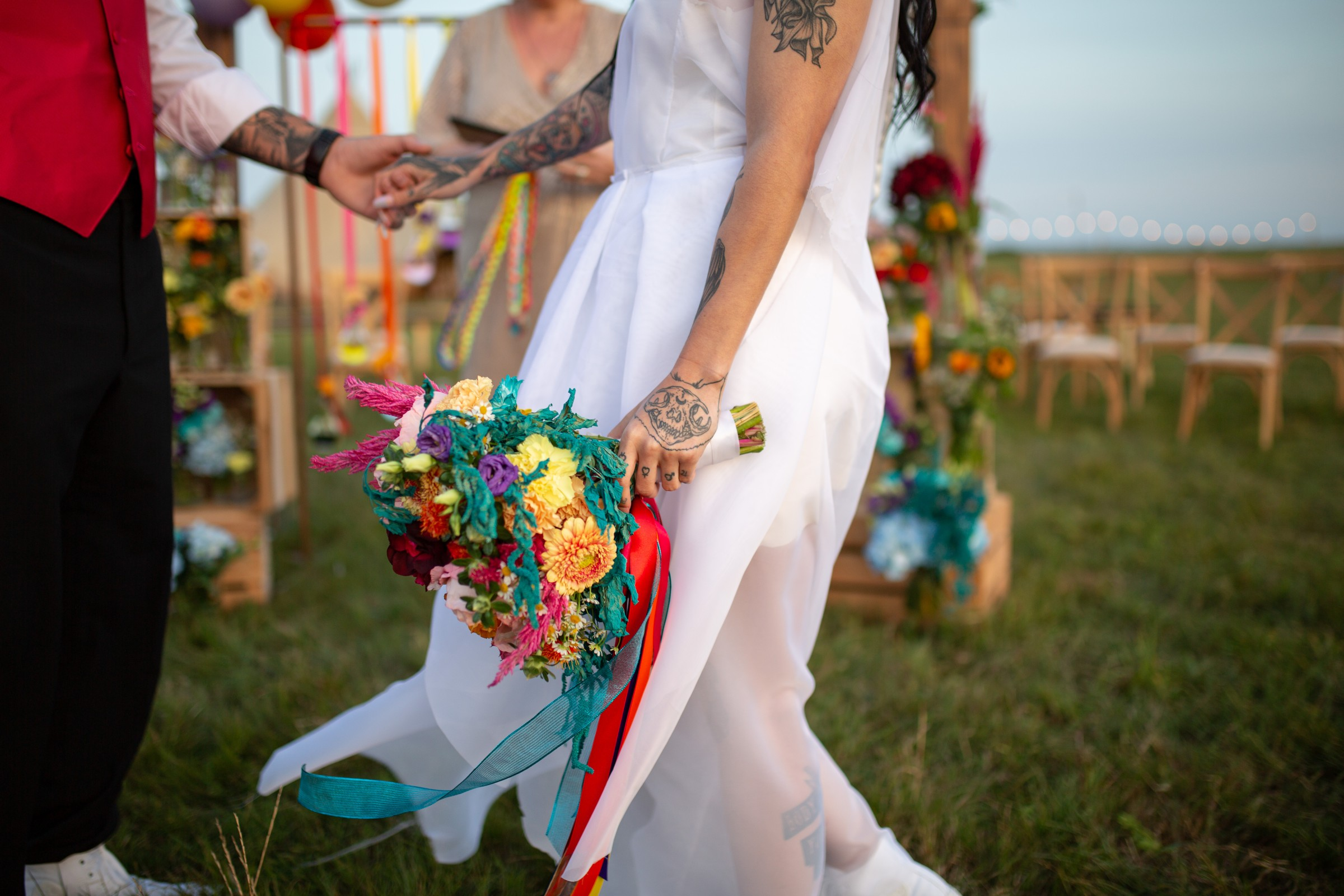 rainbow festival wedding - colourful wedding - rainbow wedding flowers - colourful wedding flowers - rainbow wedding bouquet