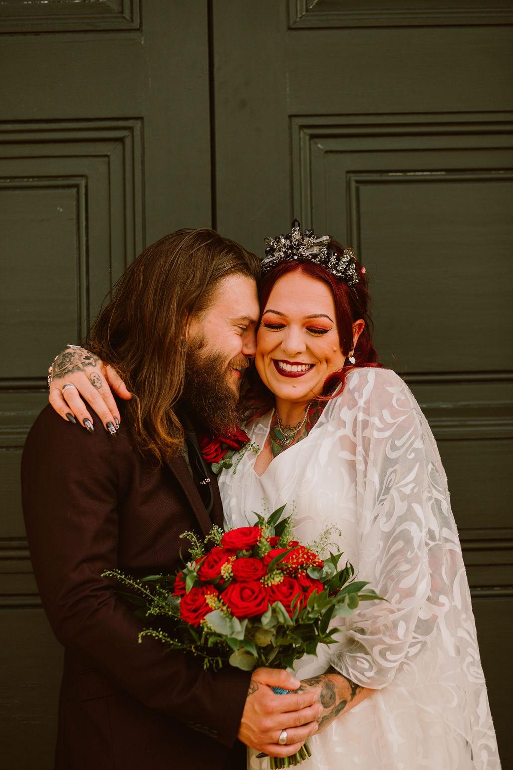 alternative wedding photography - bride and groom smiling