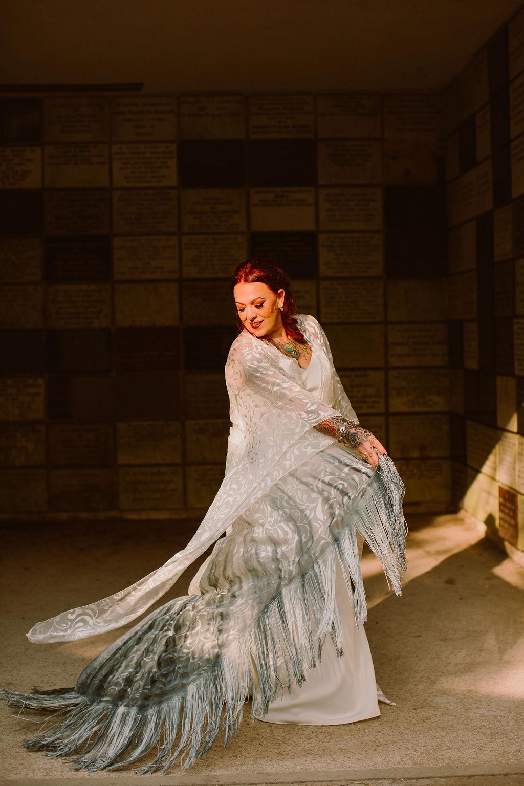 alternative wedding dress - alternative bridal wear - boho wedding dress - tassel wedding dress - dip dye wedding dress
