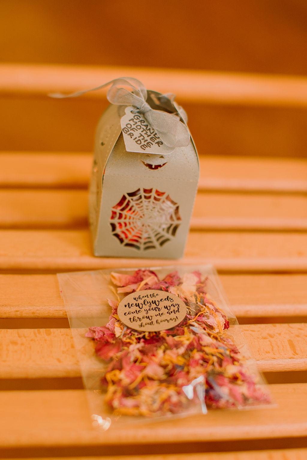 unique wedding confetti - cobweb wedding