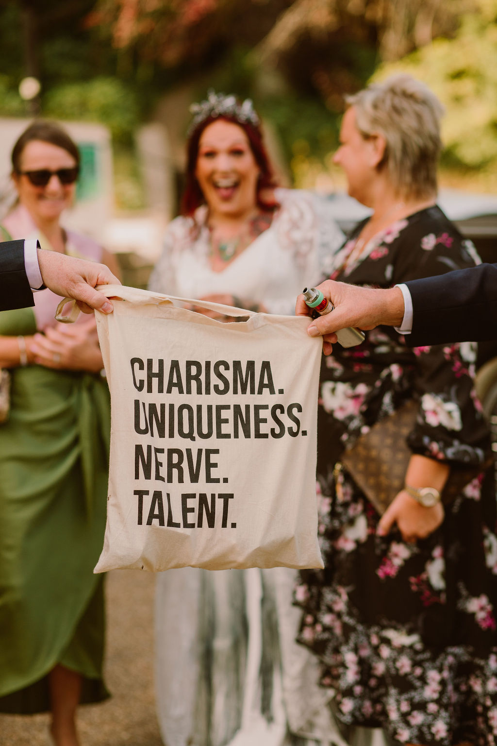 charisma uniqueness nerve and talent tote bag - drag race tote bag at wedding