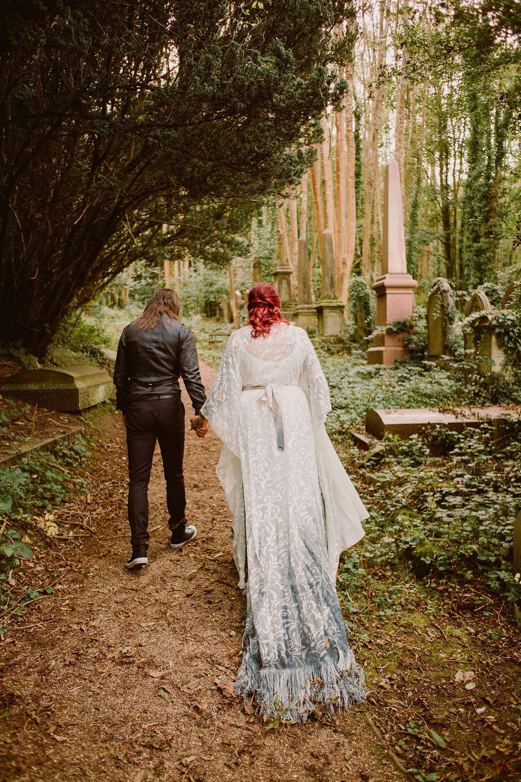 cemetery wedding - alternative micro wedding - arnos vale - bohemian wedding dress