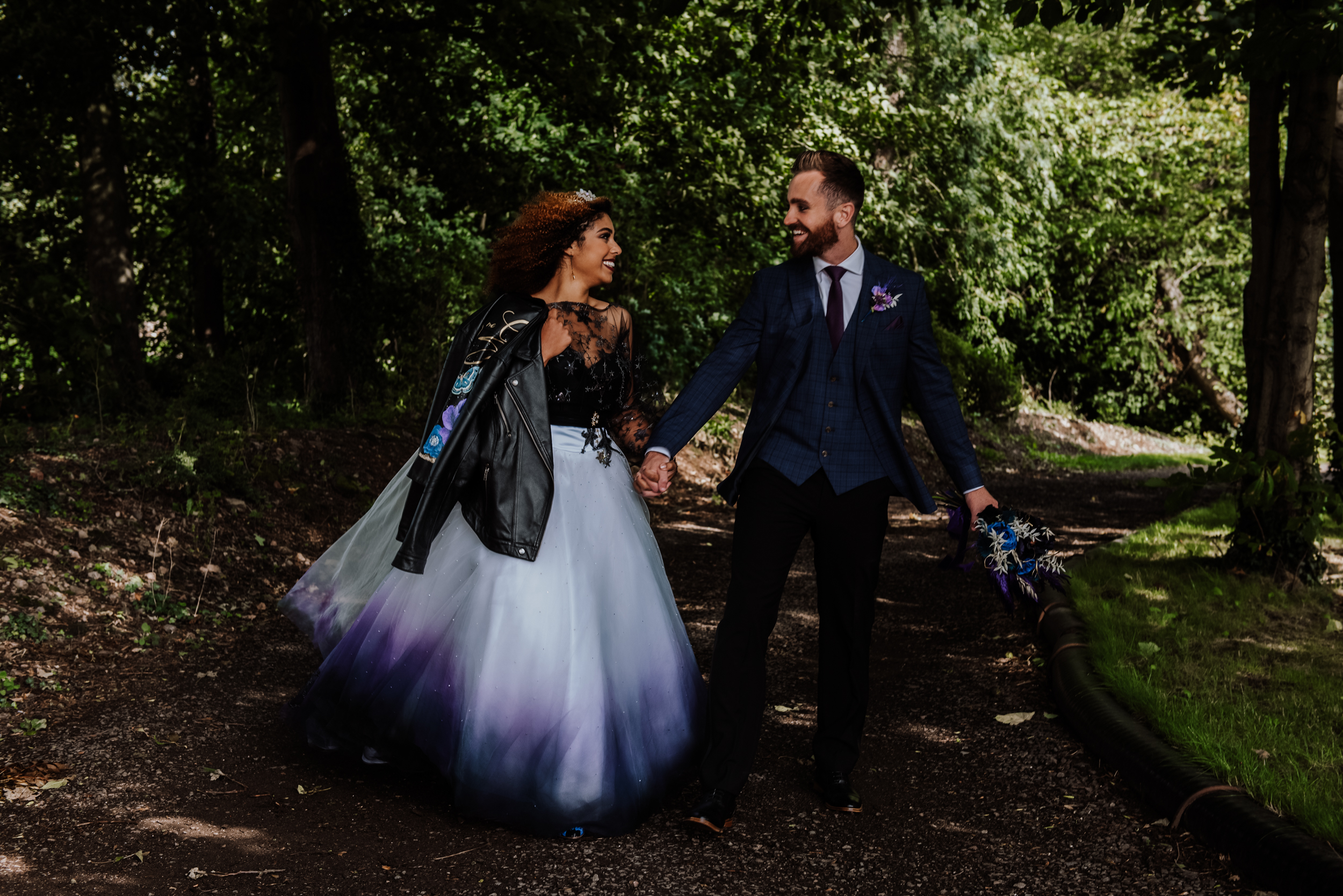 alternative wedding wear - ombre wedding dress & bridal leather jacket - dip dye wedding dress