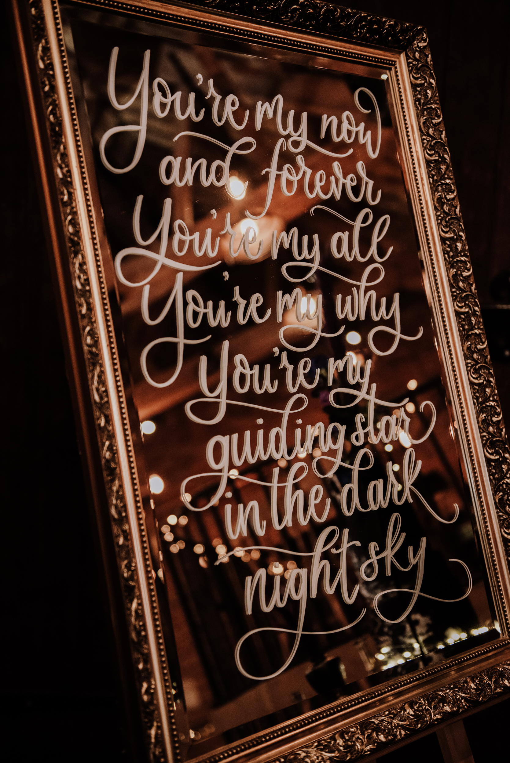 wedding mirror with calligraphy