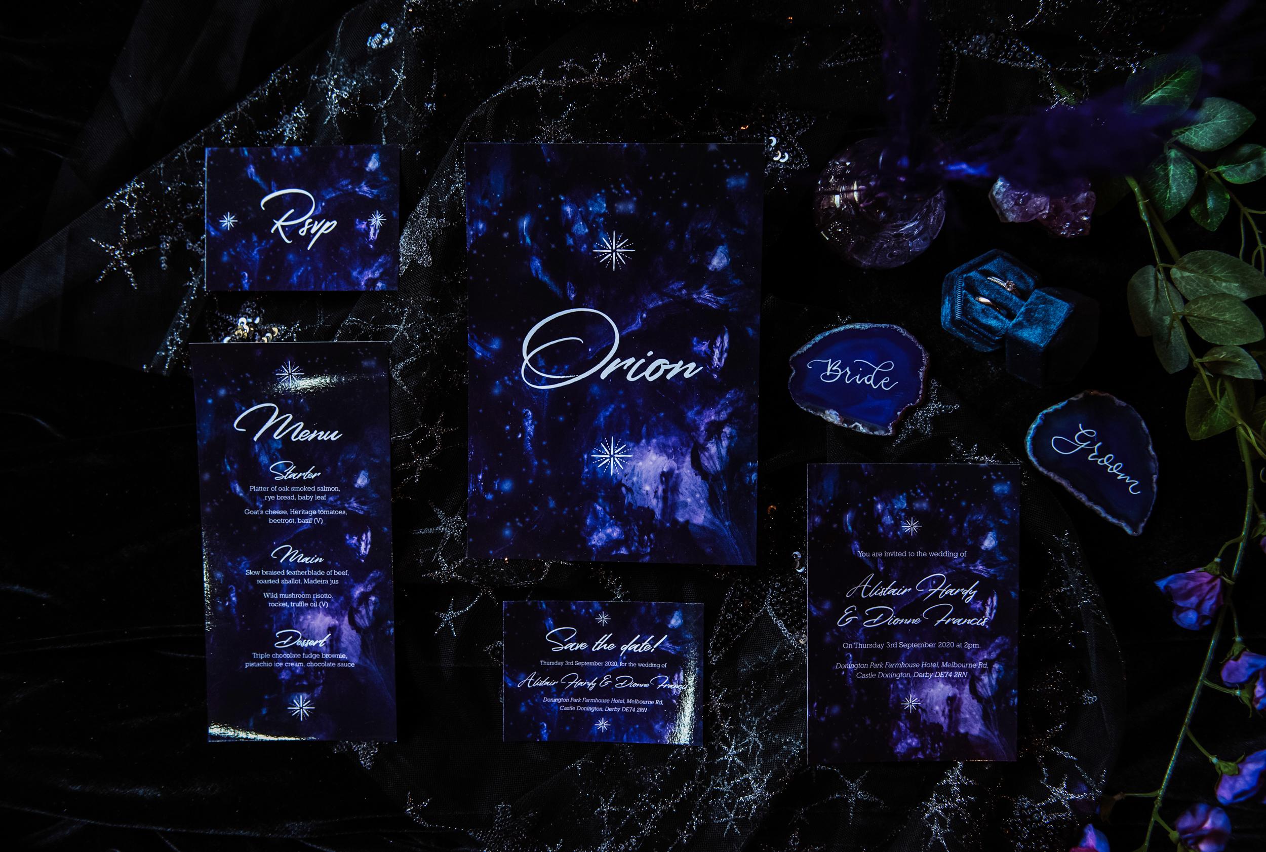 luxury galaxy wedding - galaxy wedding stationery - celestial wedding stationery