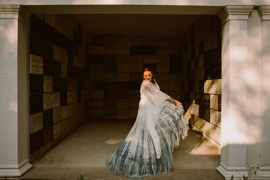 alternative wedding dress - alternative bridal wear - boho wedding dress - tassel wedding dress - dip dye wedding dress - flared sleeve wedding dress
