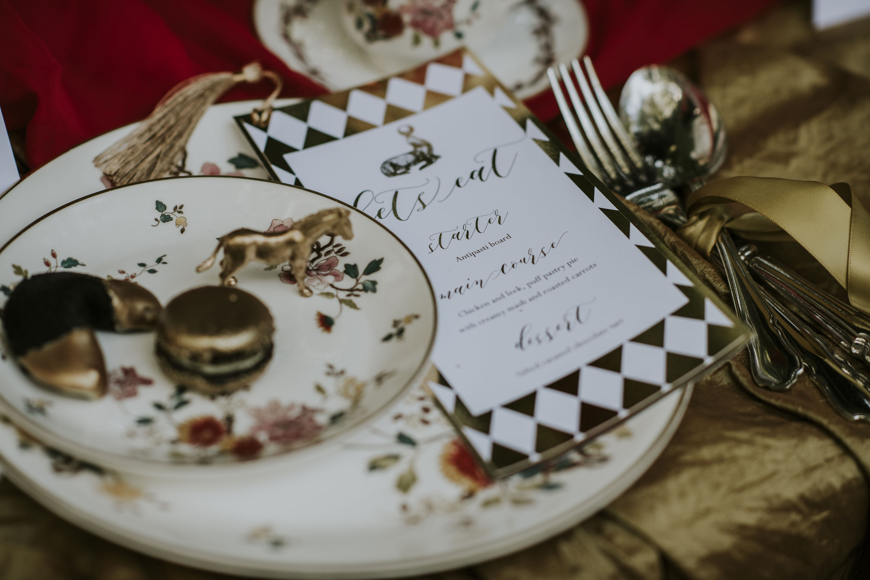 gold and white wedding stationery - elegant wedding stationery - unique wedding menu