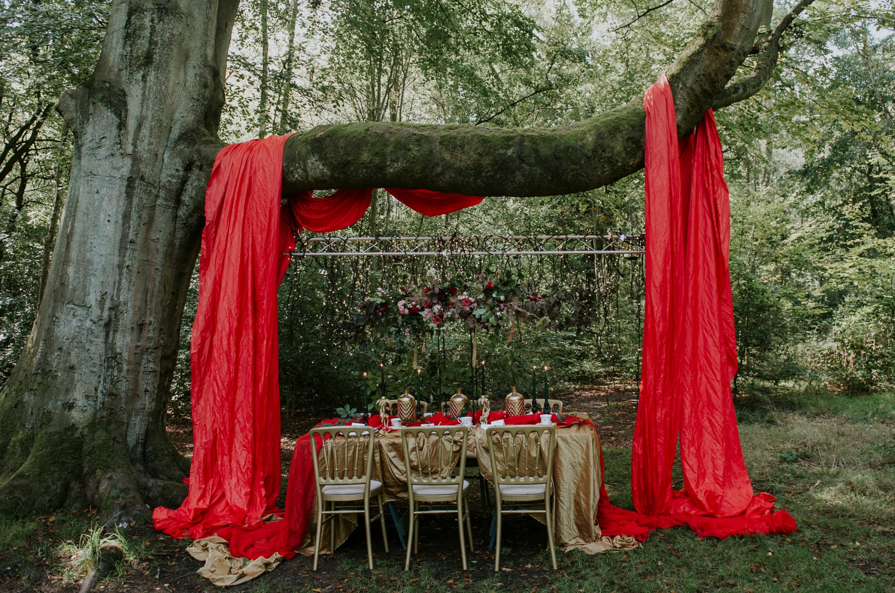 circus wedding - red and gold wedding styling - gold wedding chairs