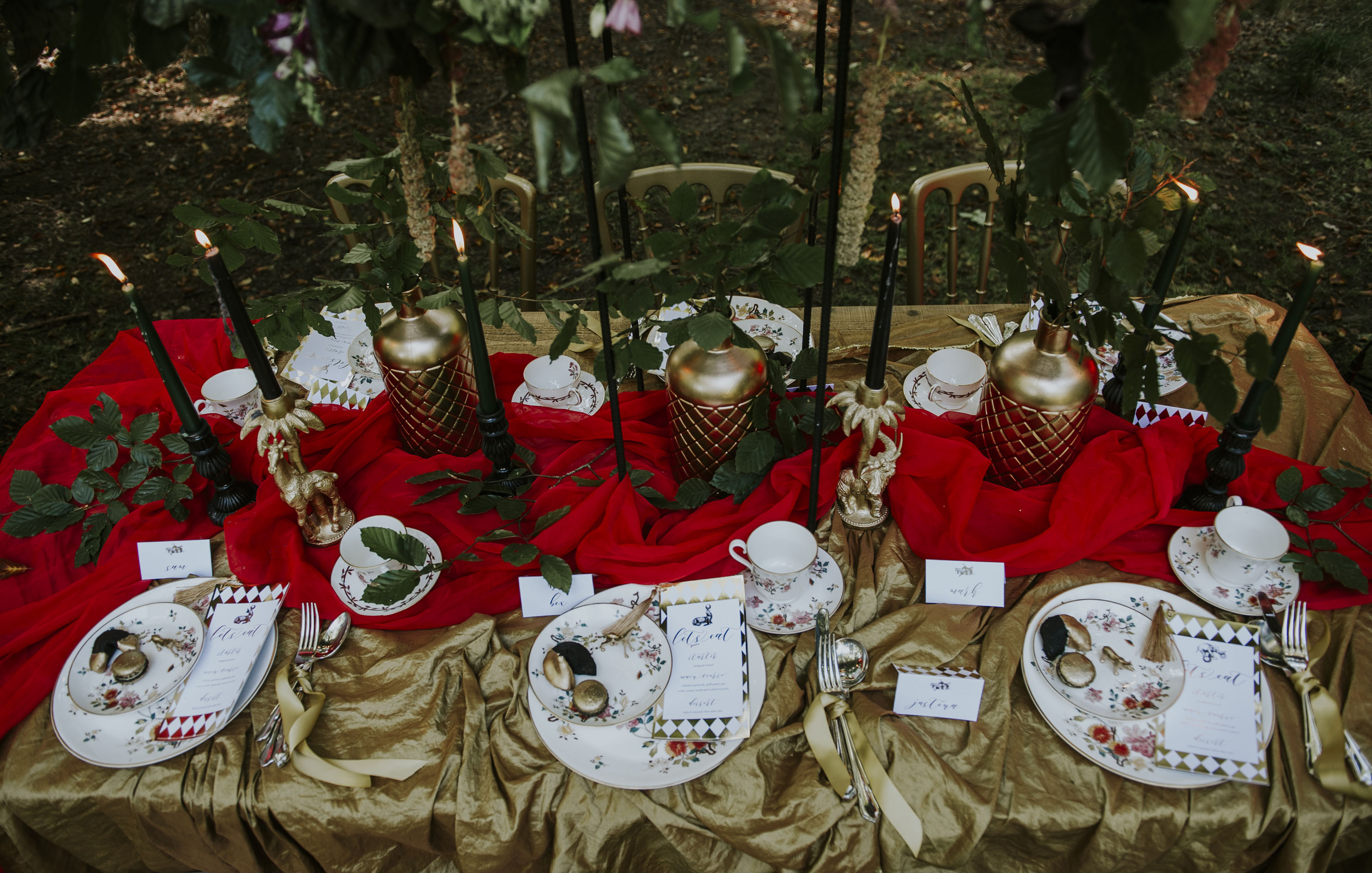 gold and red wedding decor - circus wedding - quirky luxury wedding styling - vintage alternative wedding styling