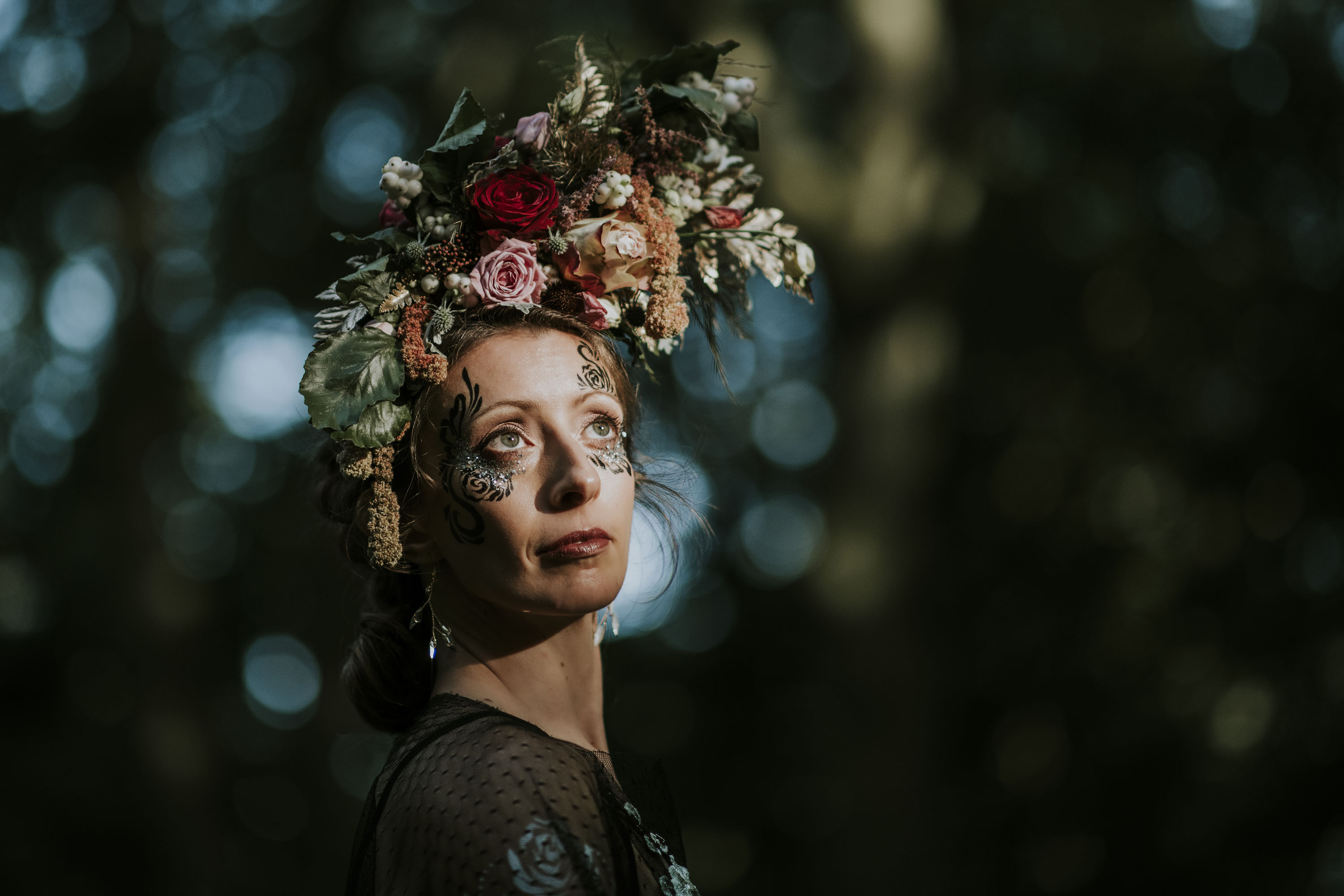 bridal floral headdress & unique bridal makeup - ethereal bridal look - quirky bridal accessories