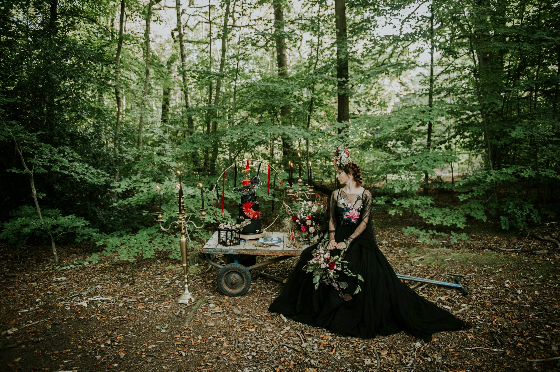 woodland circus wedding - black wedding dress - black wedding cake