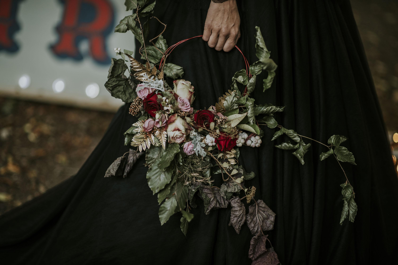 unique bridal bouquet - alternative wedding flowers - wedding floral hoop