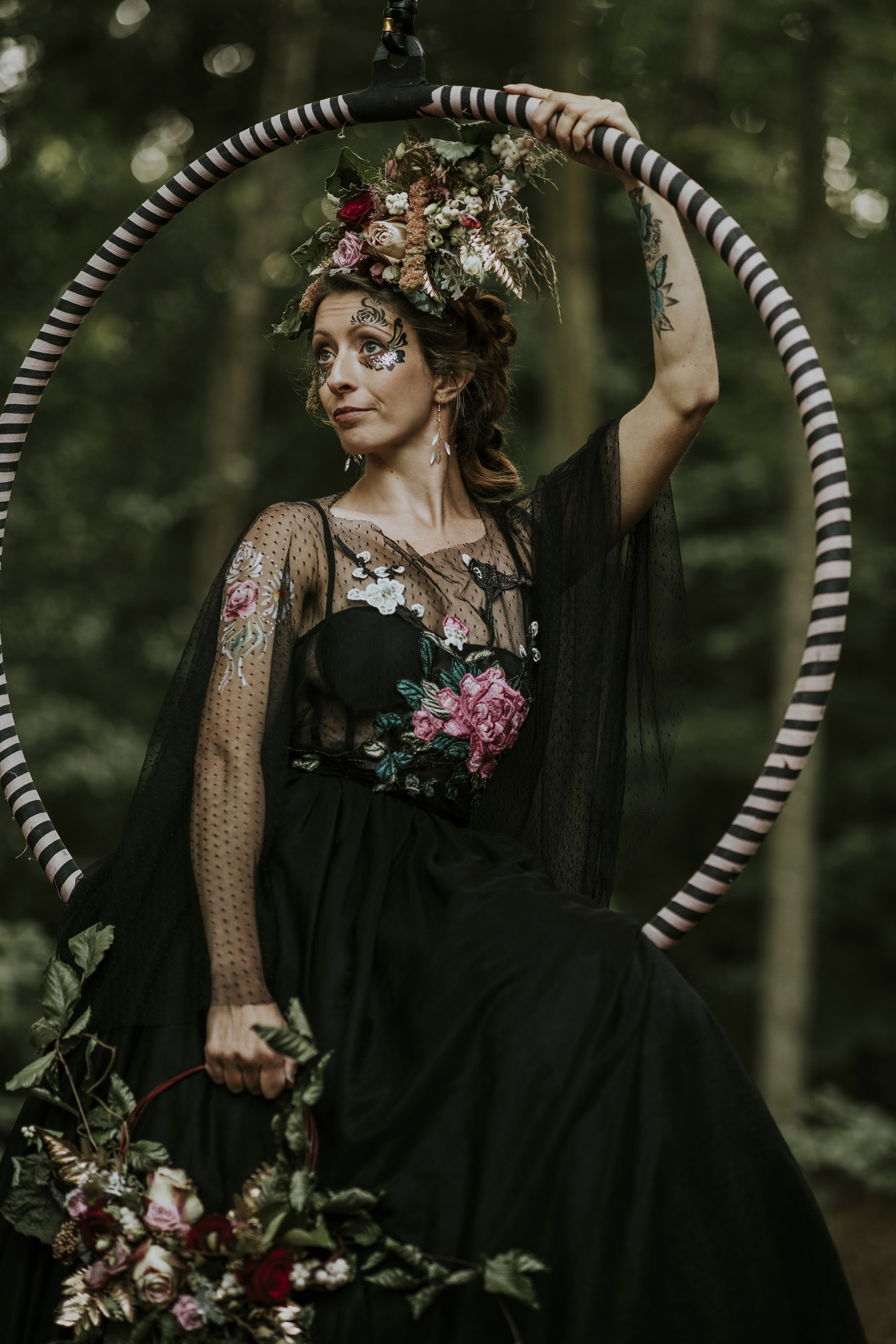 circus wedding - aerial performer bride - black wedding dress - alternative bridal wear - unique bridal look