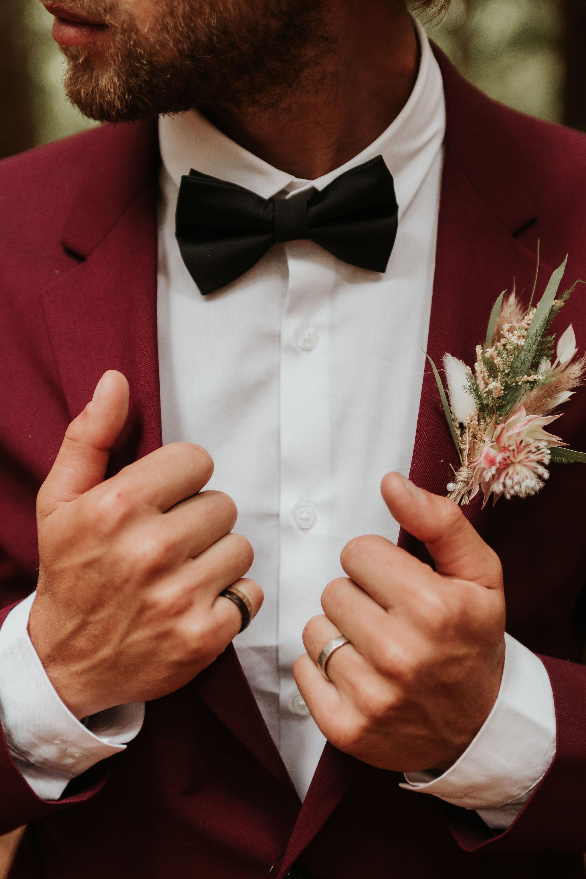 mens burgundy suit and black bowtie - unique groomswear - alternative grooms wear