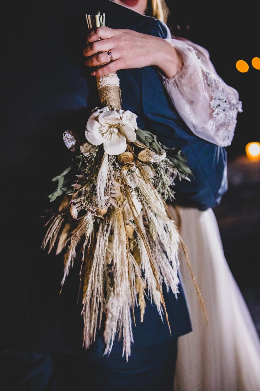 dried flower bridal bouquet - unique wedding flowers - dried wedding flowers