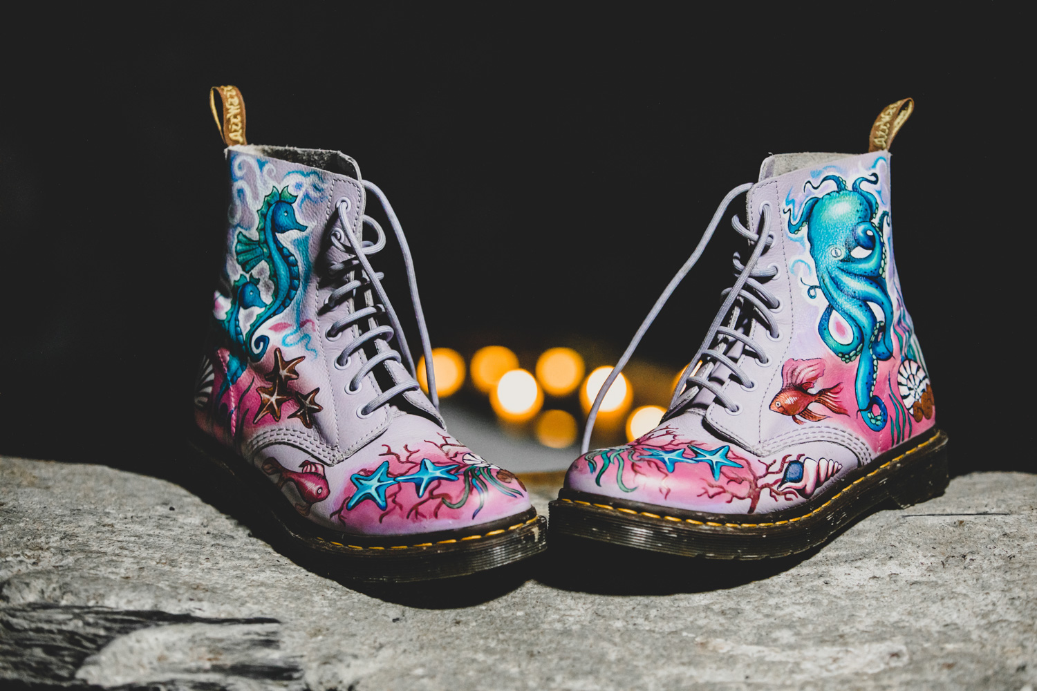 hand painted dr martens - hand painted wedding shoes - bespoke wedding shoes