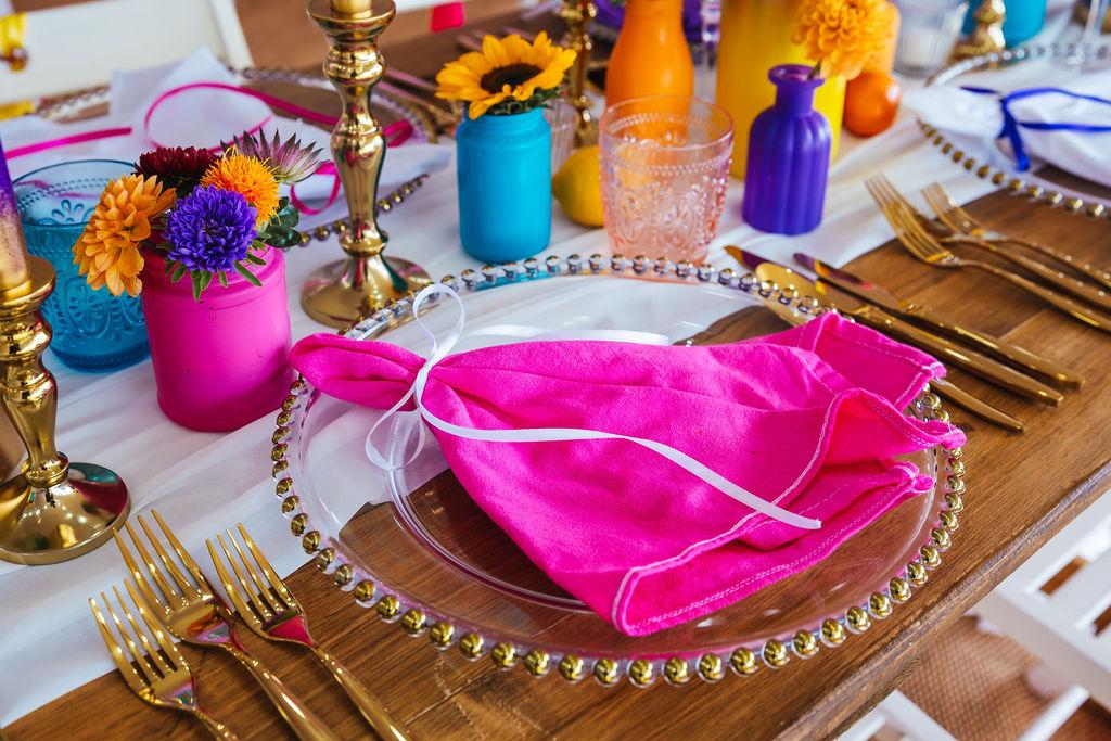 bright festival wedding - colourful wedding - colourful wedding table styling - eclectic wedding table stying