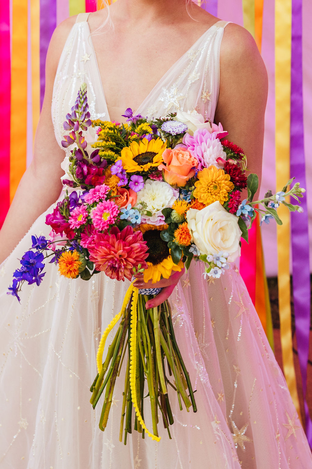 rainbow wedding bouquet - colourful wedding bouquet - colourful wedding flowers - bohemian wedding bouquet